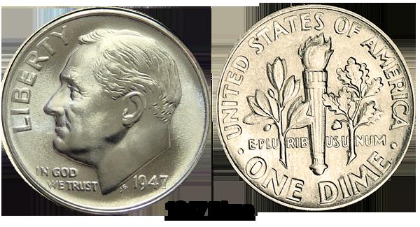 1947 P Roosevelt Dime Value