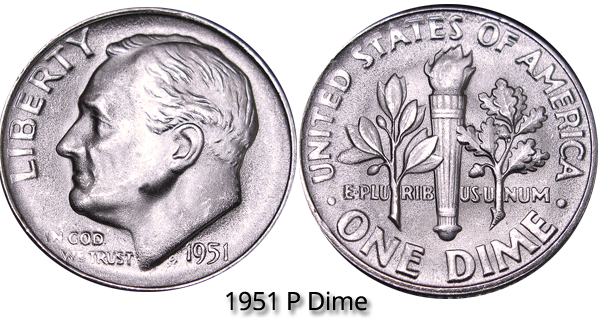 1951 D Roosevelt Dime 90/% Silver Very Good VG