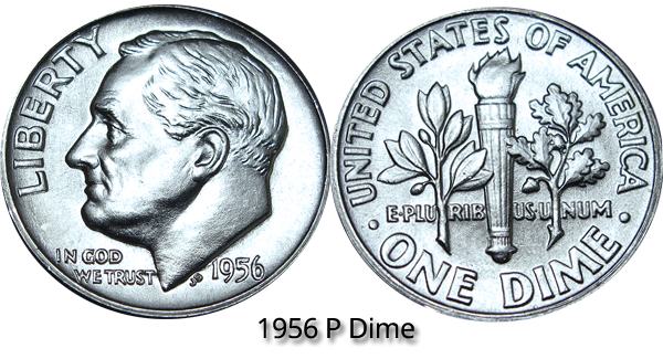 1956 P Roosevelt Dime Value
