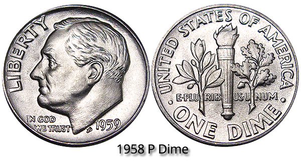 1959 P Roosevelt Dime Value