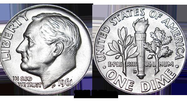 1961 D Roosevelt Dime Value