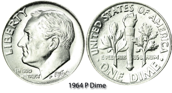 1964 P Roosevelt Dime Value