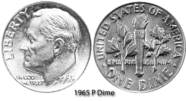 1965 P Roosevelt Dime Value