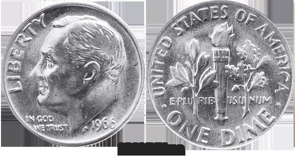 1966 P Roosevelt Dime Value