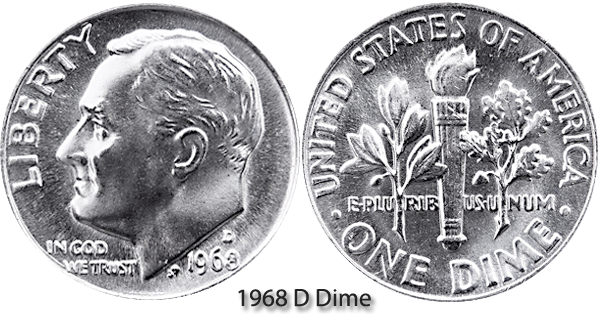 1968 D Roosevelt Dime Value