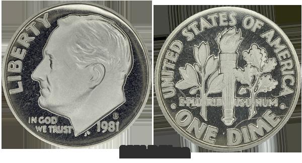 1981 D Roosevelt Dime Value
