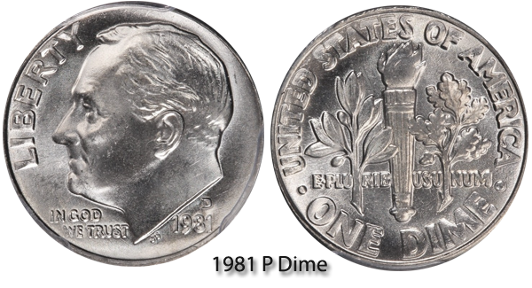 1981 P Roosevelt Dime Value